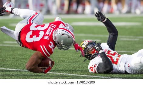Master Teague III #33 - NCAA Division 1 Football University of Maryland Terrapins  Vs. Ohio State Buckeyes on November 11th 2019 at the Ohio State Stadium in Columbus, Ohio USA