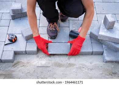 The master in yellow gloves lays paving stones in layers. Garden brick pathway paving by professional paver worker. Laying gray concrete paving slabs in house courtyard on sand foundation base.