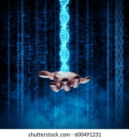 Mastering human evolution / 3D illustration of DNA double helix structure rising from open hand
