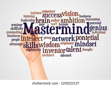 Mastermind word cloud and hand with marker concept on white background.