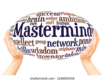 Mastermind word cloud hand sphere concept on white background.