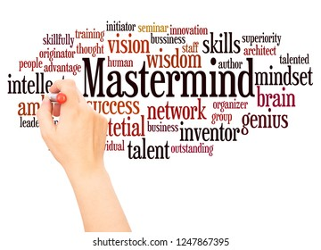 Mastermind word cloud hand writing concept on white background.