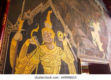 Masterpiece Ramayana painting in temple of emerald Buddha in Grand Palace in Thailand