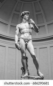 Masterpiece Renaissance sculpture by Michelangelo, David.