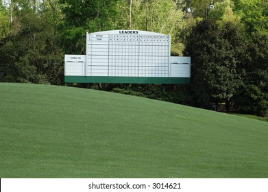 Masters.  Leader Board at Augusta