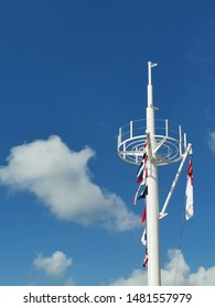 Masthead with flags on a sunny day