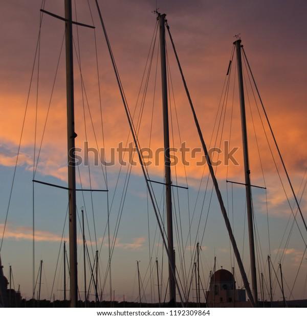 Masts at dusk