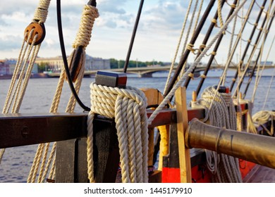 Masts and rigging of an old wooden sailboat. Details deck of the ship