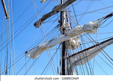 Masts and rigging on a clear blue day