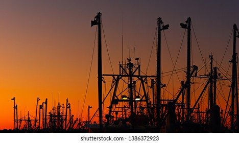 Masts and rigging of a trawler fleet at dawn/sunset silhouetted against an orange sky