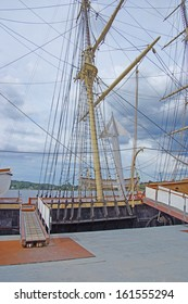 Masts, rigging and yardarms of 19th century sailing ship, Old Mystic Seaport, Connecticut