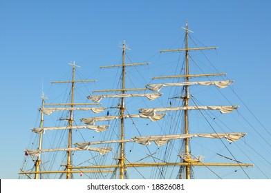 the masts of a sailing ship