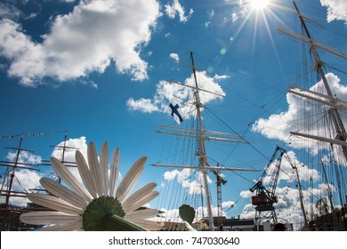 The masts of the tall ships on the races held in Turku, Finland on summer 2017. The giant chamomile in the front.
