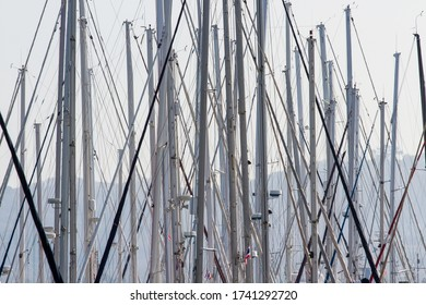 A lot of masts of yacht parks in north Phuket bay