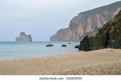 Masua with its famous Pan di Zucchero at the west coast of Sardinia. Italy.
