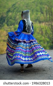 Masuleh, Iran - May 2019: Unidentified Iranian woman in traditional Persian clothes, Masuleh village, Gilan province, Iran
