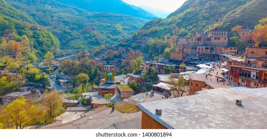 Masuleh village houses at bright blue sky, Gilan province - Iran