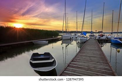 Masuria, the land of 1000 lakes. Yachts are moored at the marina