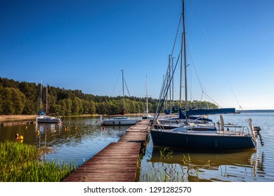 Masuria, the land of 1000 lakes. Yachts are moored at the marina
