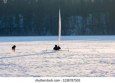 Masuria Region, Poland - January, 2009: Iceboat on the Mikolajskie Lake, Mikolajki Town