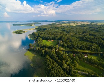 Masurian Canal which was to connect the Great Masurian Lakes with Baltic sea, Mazury, Poland. Upalty and Sosnowka islands on Mamry Lake in the background.