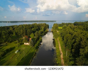 Masurian Canal which was to connect the Great Masurian Lakes with Baltic sea, Mazury, Poland. Mamry Lake in the background.