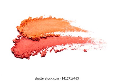 Mat blusher or eye shadow orange red smudge palette isolated white background medium color