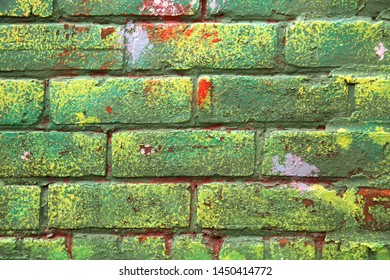 Mat brick wall paint in yellow and green