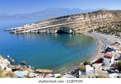Matala beach at Crete island in Greece