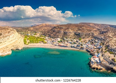 Matala beach on Crete island with azure clear water, Greece, Europe. Crete is the largest and most populous of the Greek islands.