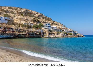 Matala, Greece - September 25, 2018: Famous hippies Matala Beach, Crete Island