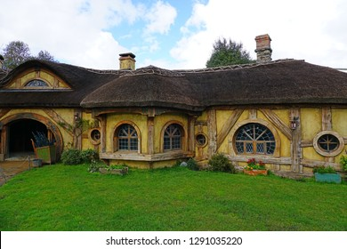 MATAMATA, NEW ZEALAND -1 AUG 2018- View of the Green Dragon Inn, a traditional tavern on the Hobbiton movie set, the Alexander farm where Peter Jackson filmed Lord of the Rings and Hobbit films.