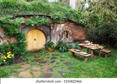 MATAMATA, NEW ZEALAND - APRIL 2, 2016: Hobbit home in the movie set for the Lord of The Rings and The Hobbit, original filming location