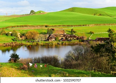 MATAMATA, NEW ZEALAND - AUGUST 2017: Village in Hobbiton movie set featured in Lord of the Rings and Hobbit movies on August 27, 2017 in Matamata