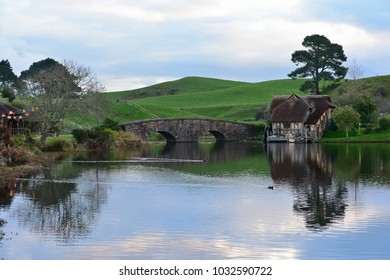 MATAMATA, NEW ZEALAND - AUGUST 2017: Lake in Hobbiton movie set featured in Lord of the Rings and Hobbit movies on August 27, 2017 in Matamata