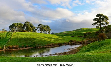 MATAMATA, NEW ZEALAND - AUGUST 2017: Hobbiton movie set featured in Lord of the Rings and Hobbit movies on August 27, 2017 in Matamata