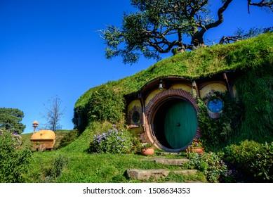 Matamata, New Zealand - Circa May 2017 : Hobbit house at the Hobbiton Movie Set