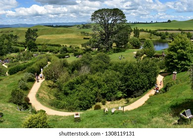 Matamata, New Zealand, December 22, 2018: The movie set of Hobbiton, created for the Hobbit movies, is a popular tourist attraction in New Zealand's North Island.