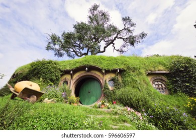 MATAMATA, NEW ZEALAND - February 20, 2017: Hobbiton Village - The site created for filming Hollywood Movie THE HOBBIT and LORD OF THE RINGS.
