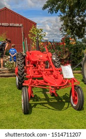 Matamata, New Zealand - February 28, 2016: Vintage tractors and machinery equitmen at a public event at the Firth Tower Museum.