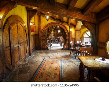 Matamata, New Zealand - Mar 27, 2017: The Green Dragon Inn is the meeting place for all residents of Hobbiton Movie Set.