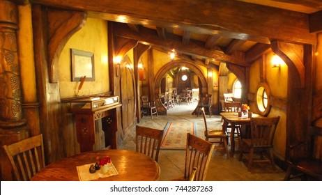 MATAMATA - NEW ZEALAND - NOVEMBER 2016 : Hobbiton Movie Set created for filming the Lord of the Rings and Hobbit movies.  Matamata, New Zealand, interior of the Green Dragon Pub at Hobbiton.