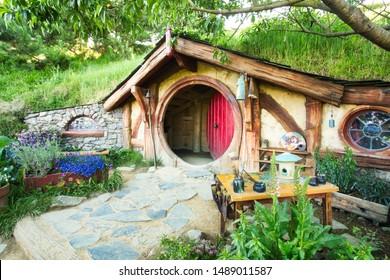 Matamata, New Zealand - November 23 2018: Hobbit House in the Shireat the Hobbiton movie set in Alexander Farm, New Zealand