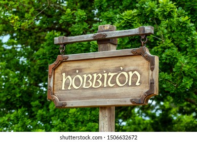 MATAMATA, NEW ZEALAND - OCTOBER 10, 2018: Wooden plate, Hobbiton Movie Set. With selective focus