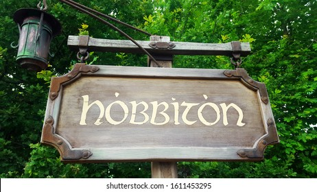 Matamata, New Zealand-01.09.20: Signpost at the Hobbiton Movie Set village, the location of filming of The Lord of the Rings and The Hobbit.