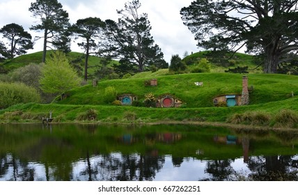 Matamata, New Zeland - October 24, 2016: The area of Hobbit village in Hobbition Movie set at Matamata, New Zeland.