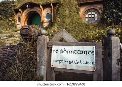 Matamata, North Island, New Zealand - July 30 2019: Hobbit house from the Hobbiton Lord of The Rings and The Hobbit trilogies, Frodo and Bilbo Baggins' house with No Admittance Sign