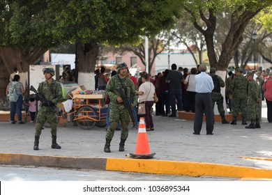 Matamoros, Tamaulipas, Mexico - February 24, 2018: Mexican armed forces during operations in north easthern Mexico.