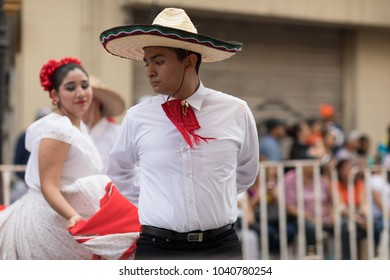 Matamoros, Tamaulipas, Mexico - February 24, 2018, Desfile Fiestas Mexicanas is part of the Charro Days Fiesta - Fiestas Mexicanas, A bi-national festival between USA and Mexico.
