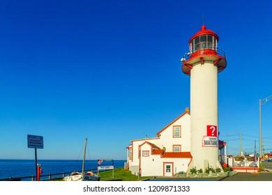 Matane, Canada - September 12, 2018: View of the lighthouse, in Matane, Gaspe Peninsula, Quebec, Canada